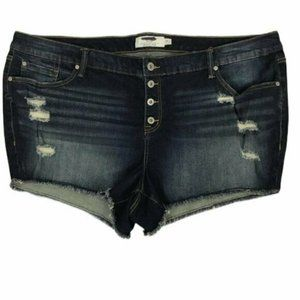 NWOT Torrid Distressed Button Fly Raw Shorts 26